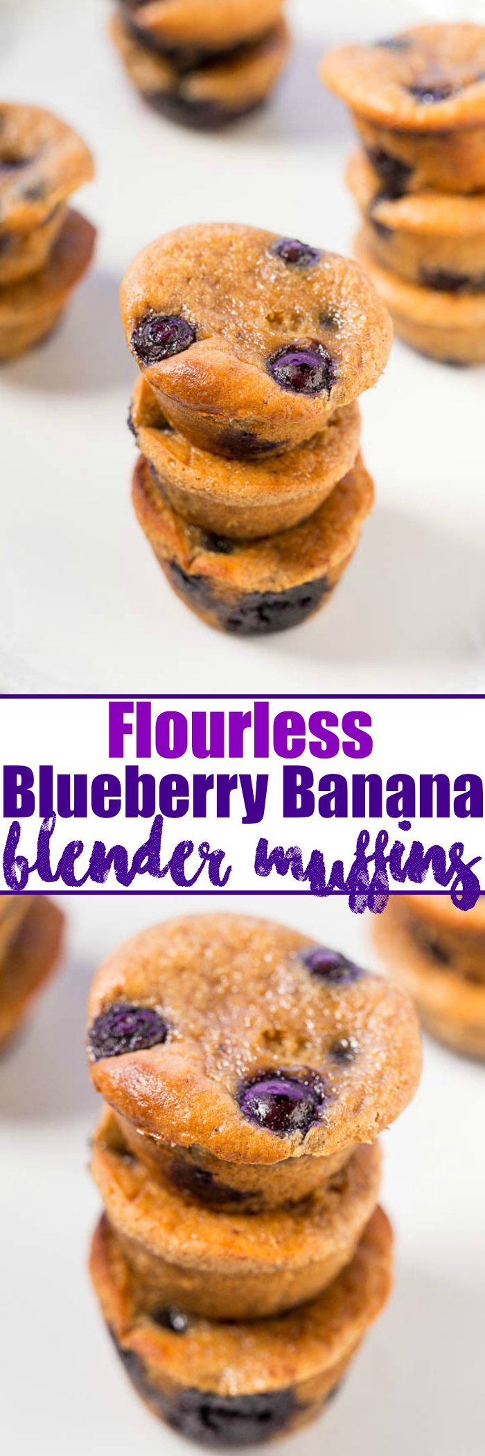 Flourless Blueberry Banana Blender Muffins - NO refined sugar, flour, or oil, and under 100 calories!! Super soft, loaded with blueberries, and taste AMAZING!! As easy as turning on your blender!!
