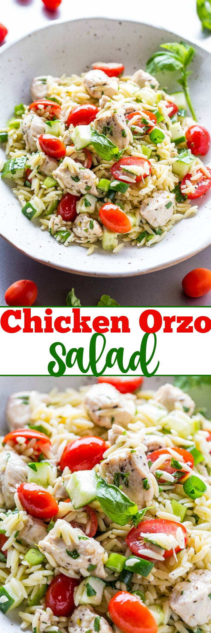 Orzo Chicken Salad - Juicy chicken tossed with orzo, tomatoes, cucumbers, basil, and a super flavorful lemon vinaigrette!! Easy, healthy, ready in 30 minutes, and a perfect way to use your garden fresh veggies!!