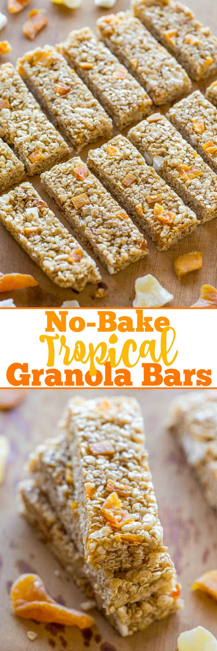 No-Bake Tropical Granola Bars - Soft, chewy, easy, and ready in minutes!! No baking or nut butter necessary! You won't miss storebought granola bars after tasting how AWESOME homemade bars are!!