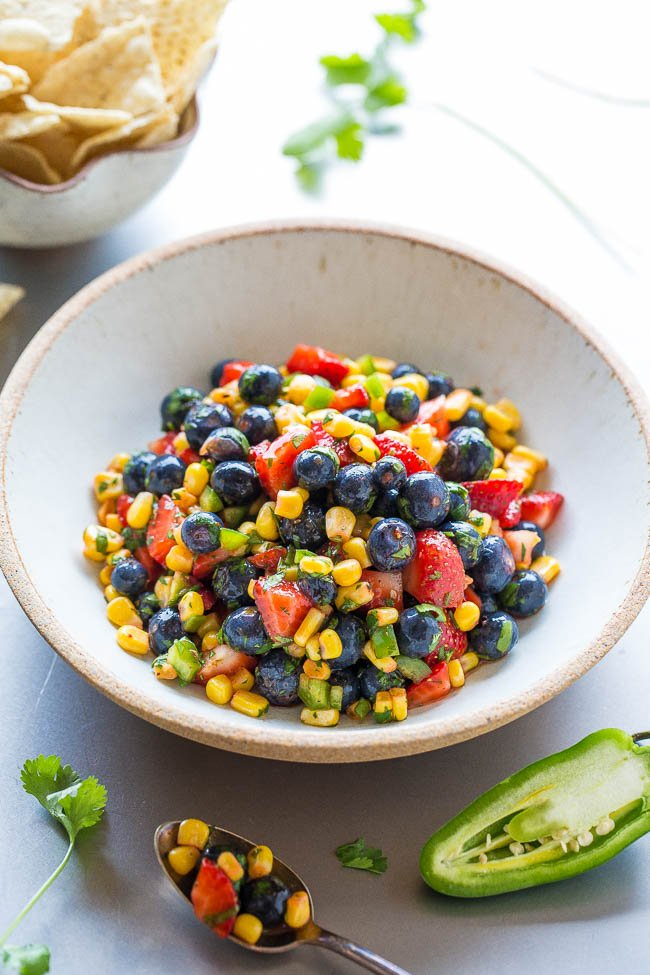 Blueberry Corn Salsa in white bowl