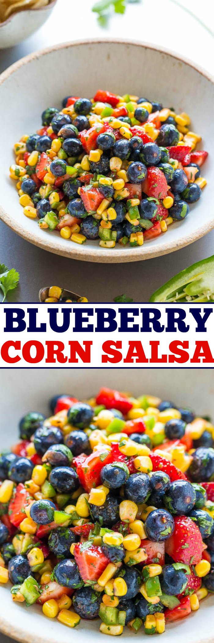 Corn and Blueberry Salsa — Berries, corn, jalapeno, cilantro, and more in this EASY and healthy salsa that's ready in 5 minutes!! So good you can eat it on it's own like a salad! The sweet fruit balances the heat and it's a guaranteed HIT!!