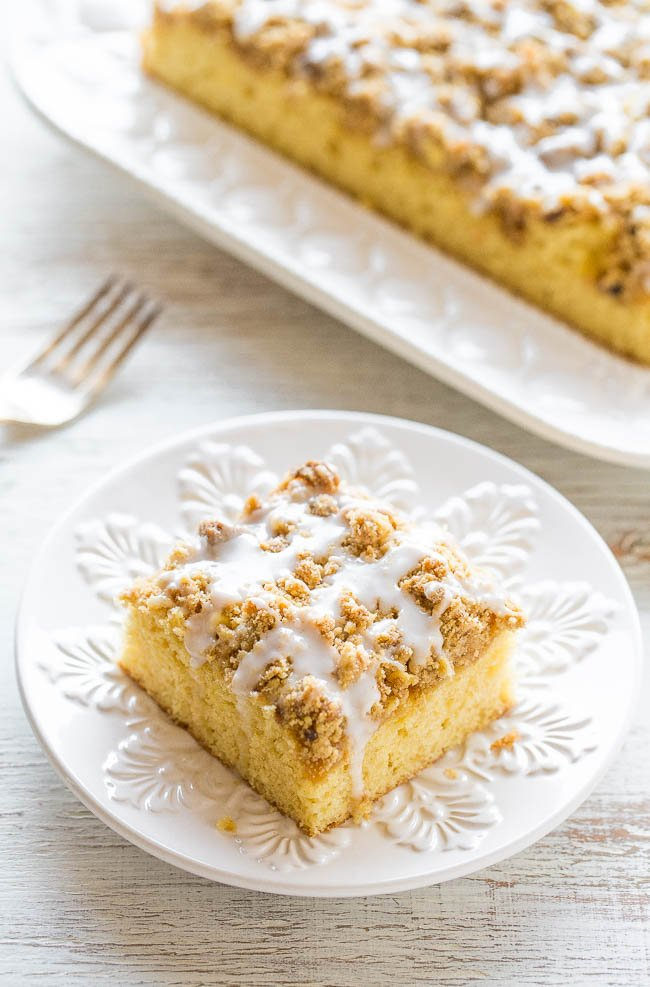 slice of Coffee Crumb Cake drizzled with glaze