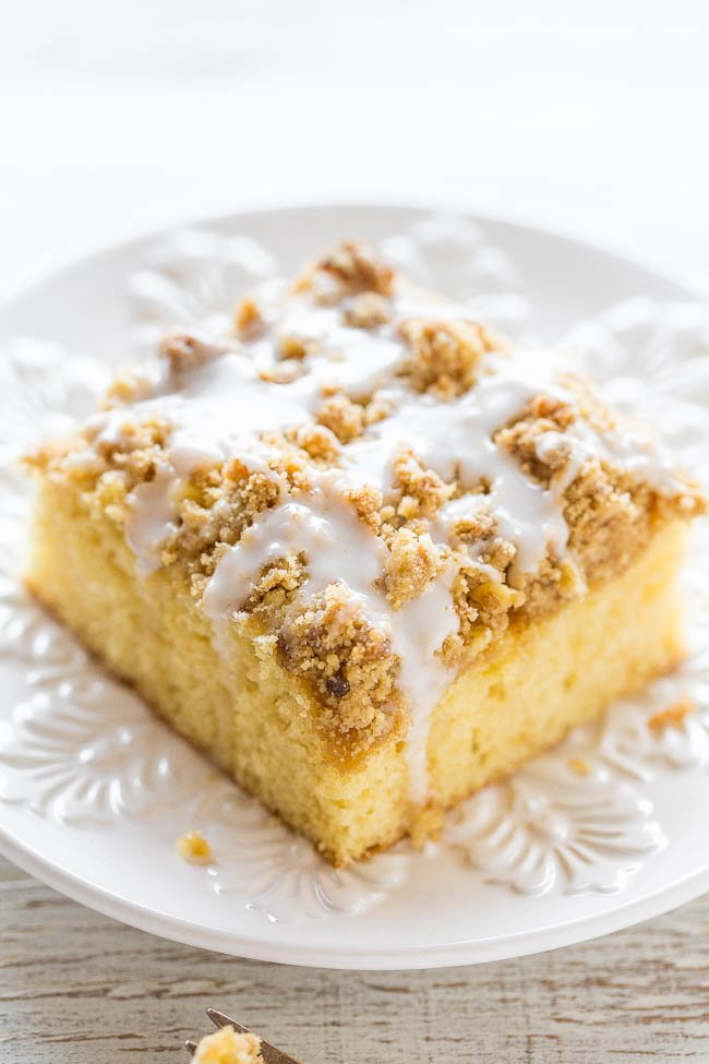 slice of cake mix coffee cake on white plate