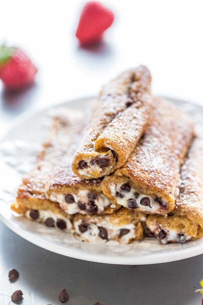 Cannoli French Toast Rollups - Don't settle for plain French toast when you can roll it up with cannoli filling!! Sweet, creamy, luscious, and loaded with chocolate chips! Easy and perfect for lazy weekend mornings or holiday brunches!!