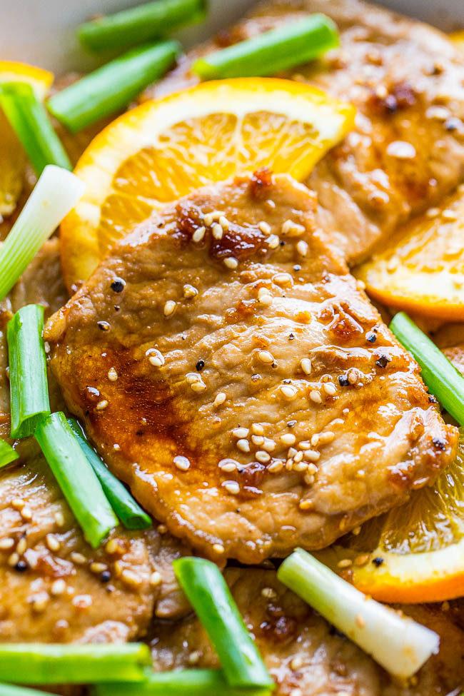 Orange Teriyaki Pork Tenderloin - An orange-scented teriyaki sauce keeps the pork so tender, juicy, and flavorful!! Easy, one-skillet recipe that's ready in 20 minutes and healthy! Under 250 calories with 25 grams of protein!!