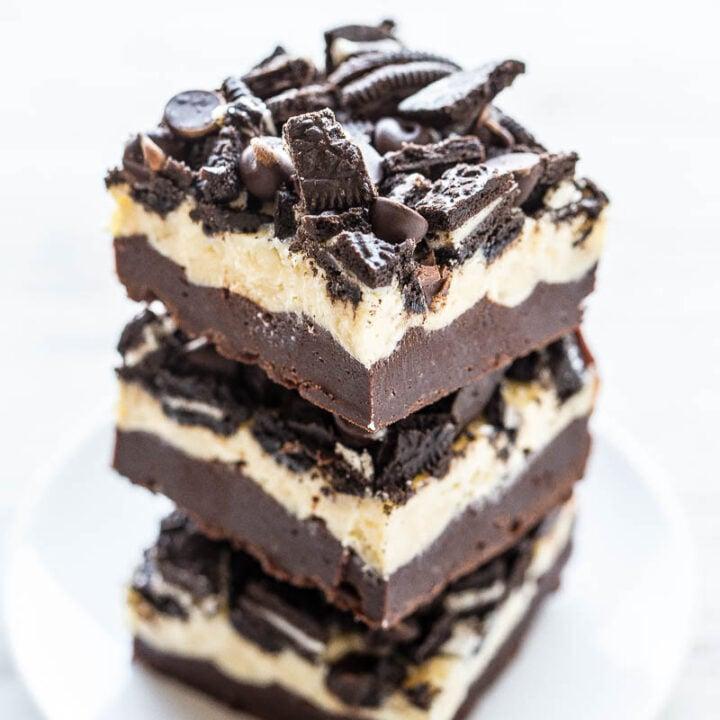 Oreo brownies piled high on plate