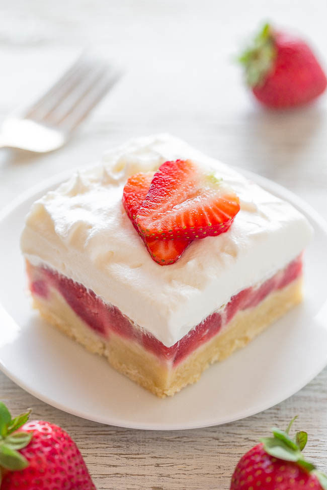 Strawberry Custard Bars - Easy no mixer bars with a shortbread crust, one pound of fresh berries, a layer of sweet custard, and creamy whipped topping!! A perfect warm weather dessert that everyone LOVES!!