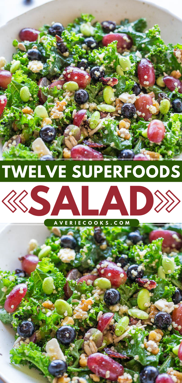 Twelve Superfood Salad— This superfood salad is packed with 12 superfoods! This is a great clean out the fridge meal and is easily customized to suit whatever you need to use up.