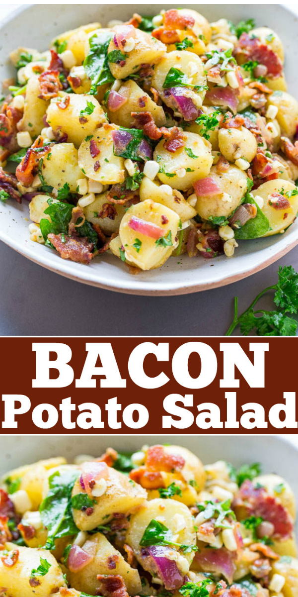 This NO MAYO Potato Salad with Bacon is ready in just 30 minutes! It's a vinegar potato salad the whole family will love. perfect for all your summer holidays, picnics, potlucks, and barbecues!