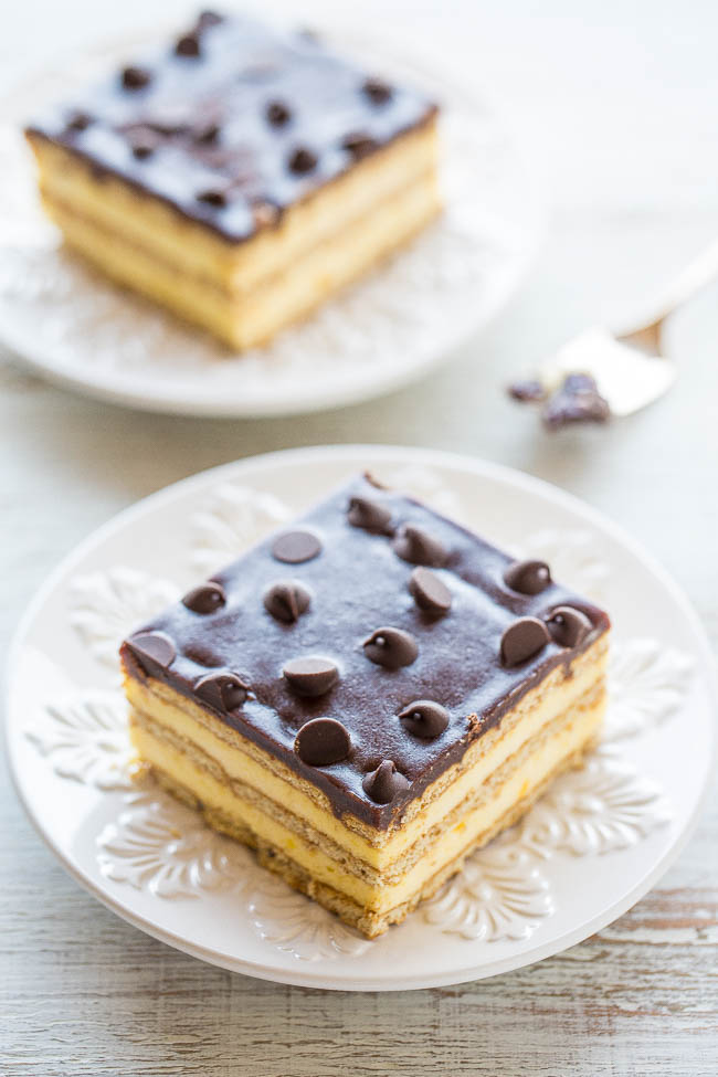 two slices of Boston Cream Icebox Cake on white plates