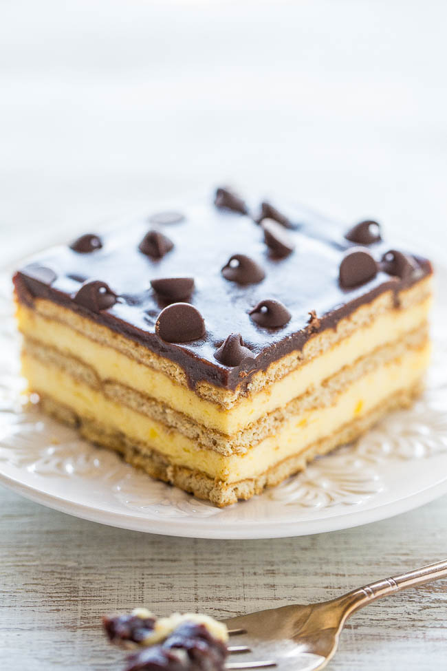Boston Cream refrigerator Cake slice on white plate