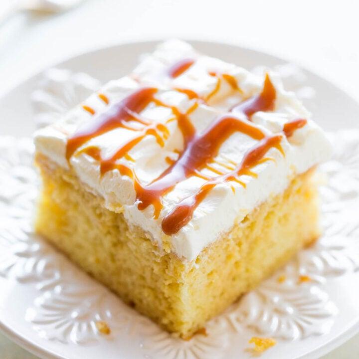 Caramel Cream Poke Cake