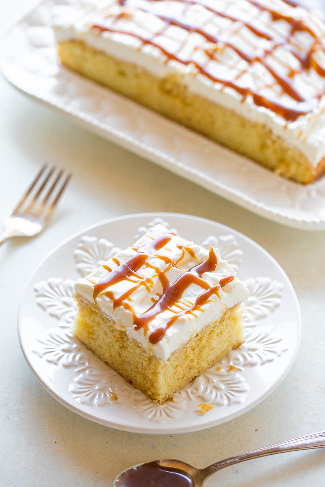 Caramel Cream Poke Cake on a white plate