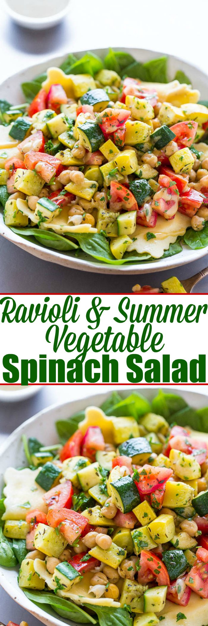 Summer Ravioli Salad — Crisp-tender zucchini, yellow squash, tomatoes, and chickpeas over spinach with cheesy ravioli and a dijon vinaigrette!! A HEALTHY summer pasta salad that takes advantage of fresh produce!!