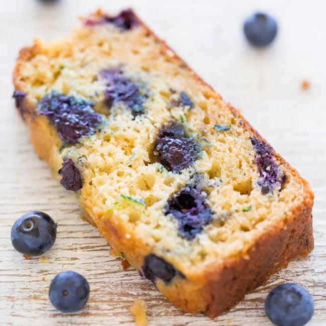 Slice of Blueberry Zucchini Bread