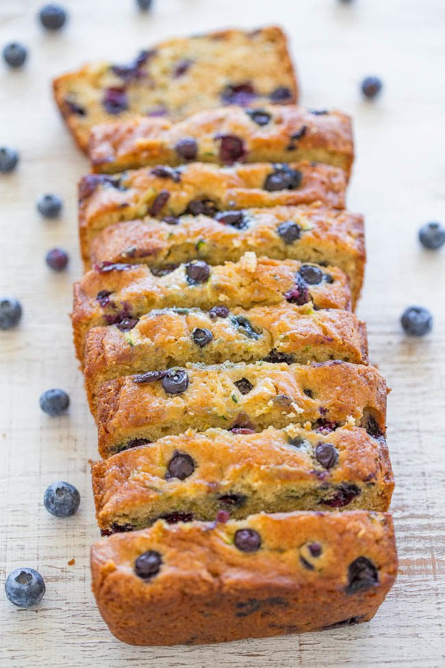 Overhead of sliced Blueberry Zucchini Bread