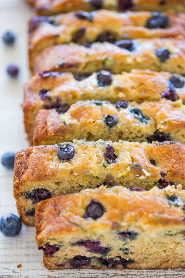 sliced loaf of zucchini blueberry bread