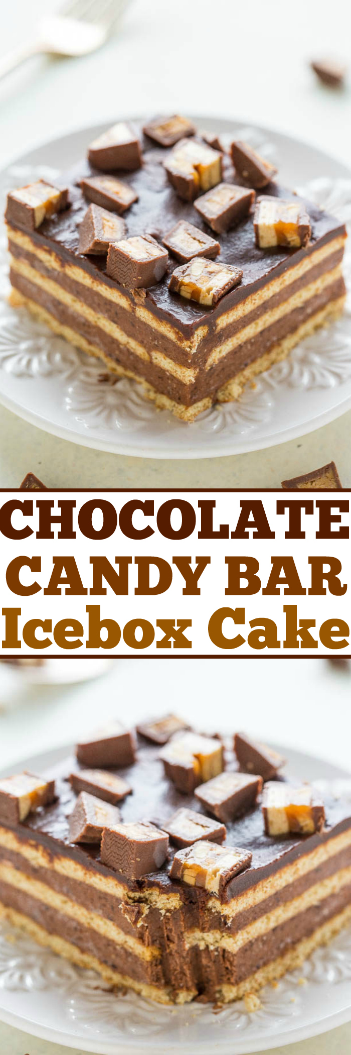 Chocolate Candy Bar Icebox Cake - Easy frozen dessert with graham ...