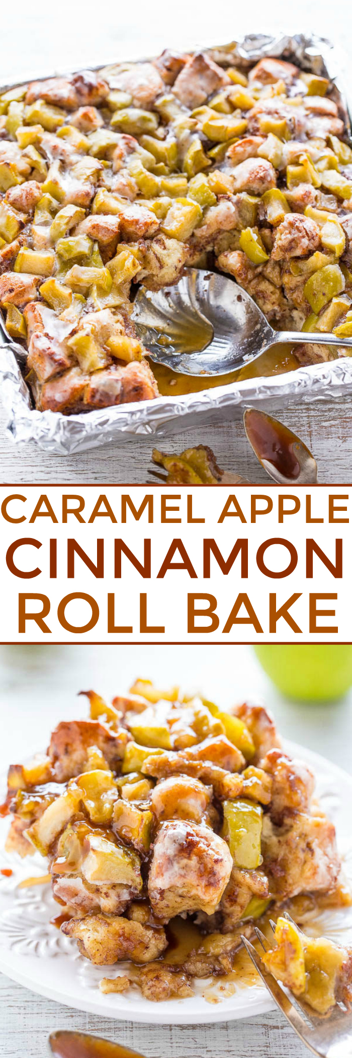 Caramel Apple Cinnamon Roll Bake - The soft and gooey factor of a CINNABON with apples and so much CARAMEL SAUCE!! Easy, ready in 30 minutes, and uses storebought cinnamon roll dough to save time! One of the BEST desserts ever!!
