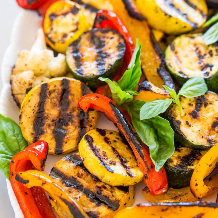 Grilled Vegetables with Basil Vinaigrette