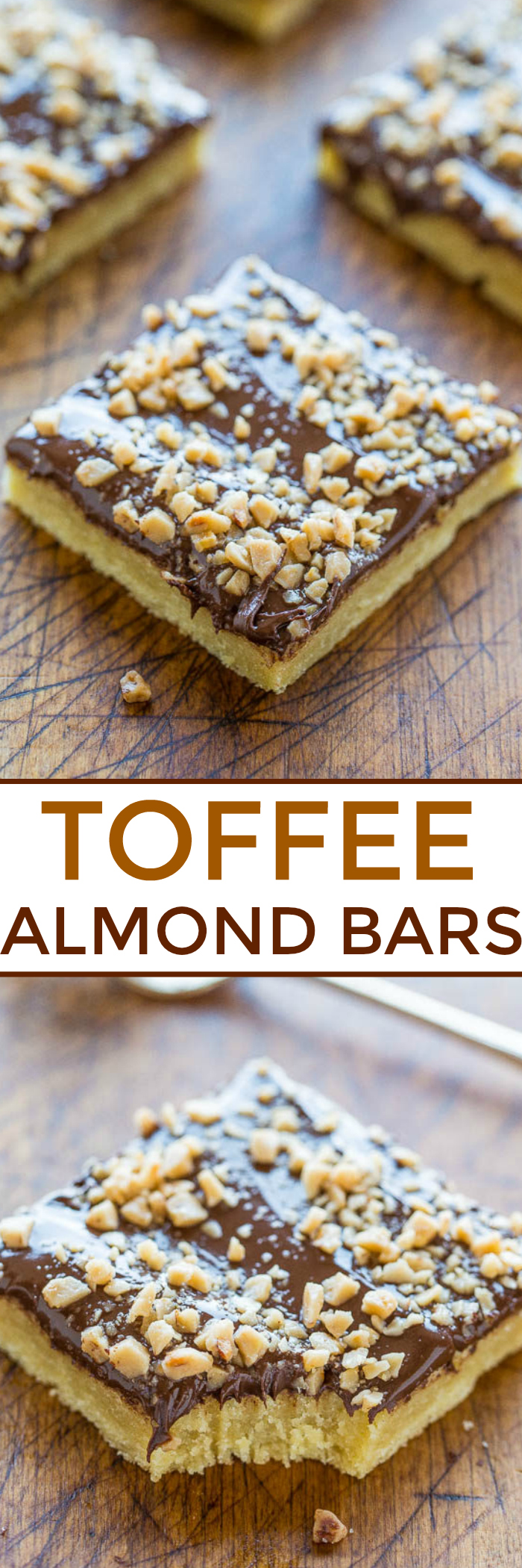 Toffee Almond Bars - An ultra BUTTERY base made with almond extract and topped with CHOCOLATE and TOFFEE BITS!! An easy dessert that's ready in 15 minutes but tastes like you slaved over it!!
