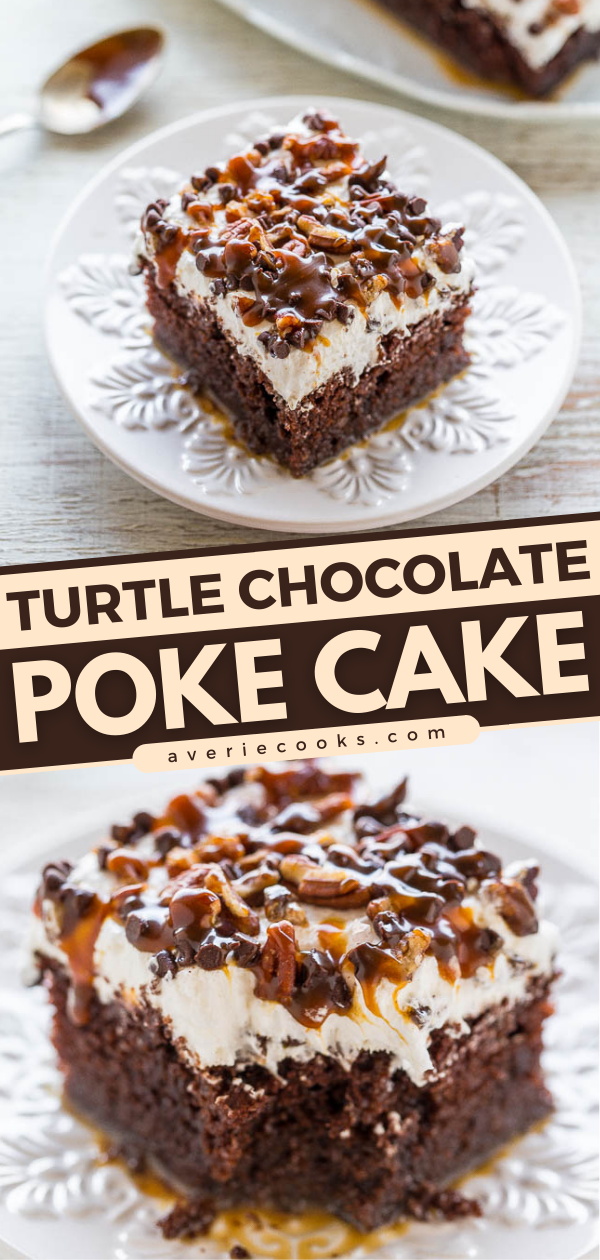 Chocolate Turtle Cake—This decadent poke cake is topped with whipped topping, salted caramel sauce, mini chocolate chips, and chopped pecans. It's so easy to make, and a huge hit at parties!