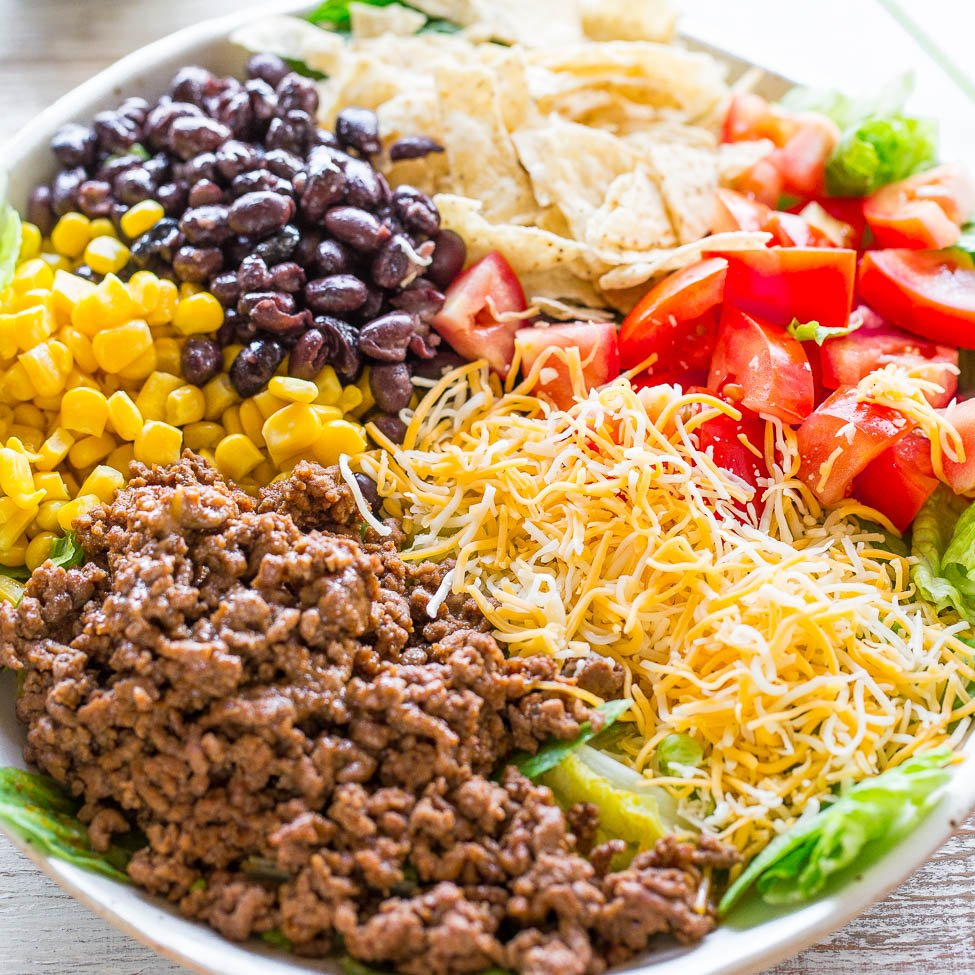 Easy Ground Beef Taco Salad Recipe: Loaded Beef Taco Salad (with Cilantro-Lime Dressing