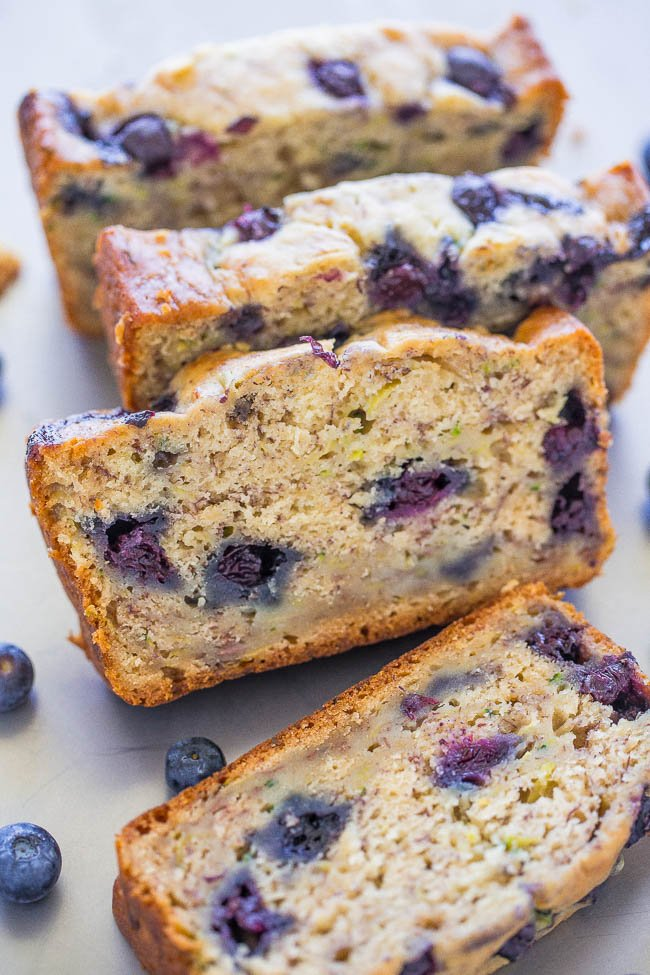 slices of Blueberry Banana Zucchini Bread