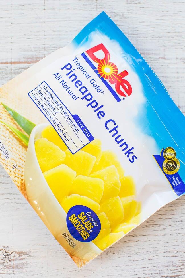 bag of frozen pineapple intended for homemade salsa