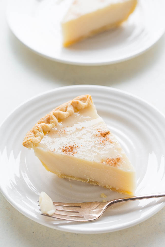 slice of Sugar Cream Pie on white plate