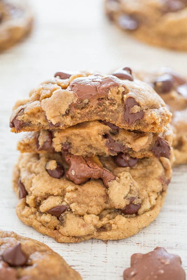 TURTLES® Chocolate Chip Cookies - The BEST chocolate chip cookies stuffed with TURTLES candies!! Soft, chewy, and buttery with caramel and chocolate! They'll be your new FAVORITE chocolate chip cookies!!