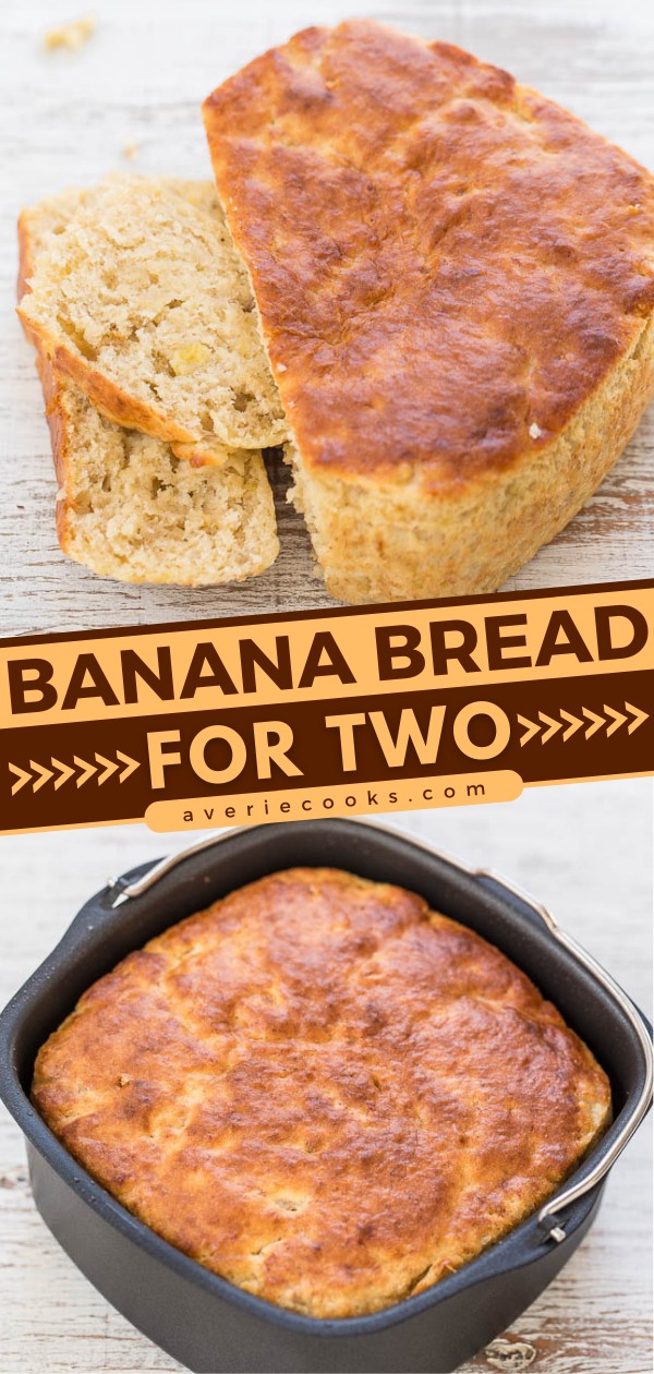 Air Fryer Banana Bread For Two — You'll never guess HOW this easy, no-mixer bread is baked!! It's super soft, tender, moist, and the perfect mini banana bread loaf for two!!