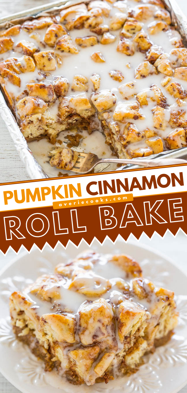 Pumpkin Cinnamon Roll Bake — Every bite tastes like the super SOFT, gooey CENTER of a cinnamon roll!! Spiked with pumpkin and flooded with icing, this EASY recipe is an automatic WINNER!!