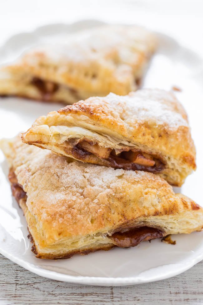 puff pastry Apple Turnovers on white platter