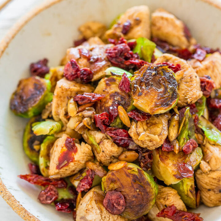Balsamic Chicken, Brussels Sprouts, Cranberries and Pumpkin Seeds