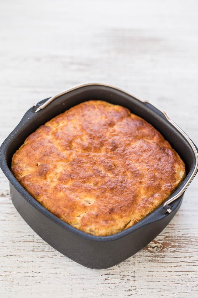 air fryer banana bread in nonstick pan