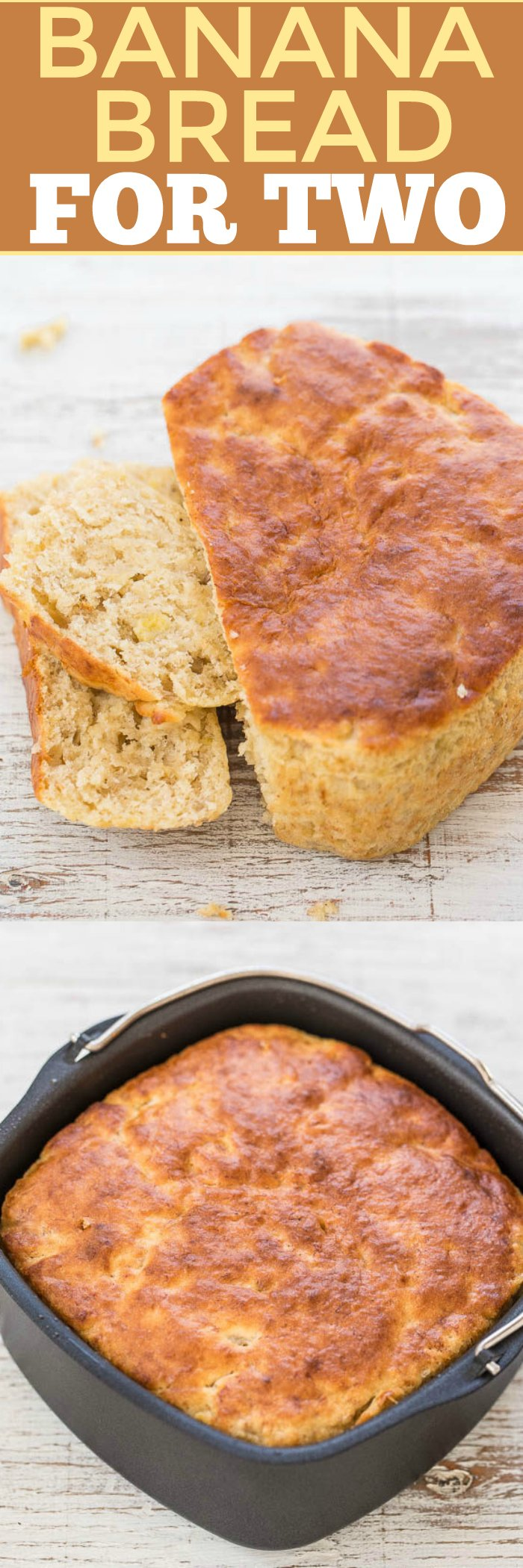 Air Fryer Banana Bread For Two - You'll never guess HOW this easy, no-mixer bread is baked!! It's super soft, tender, moist, and the perfect little loaf for two!!