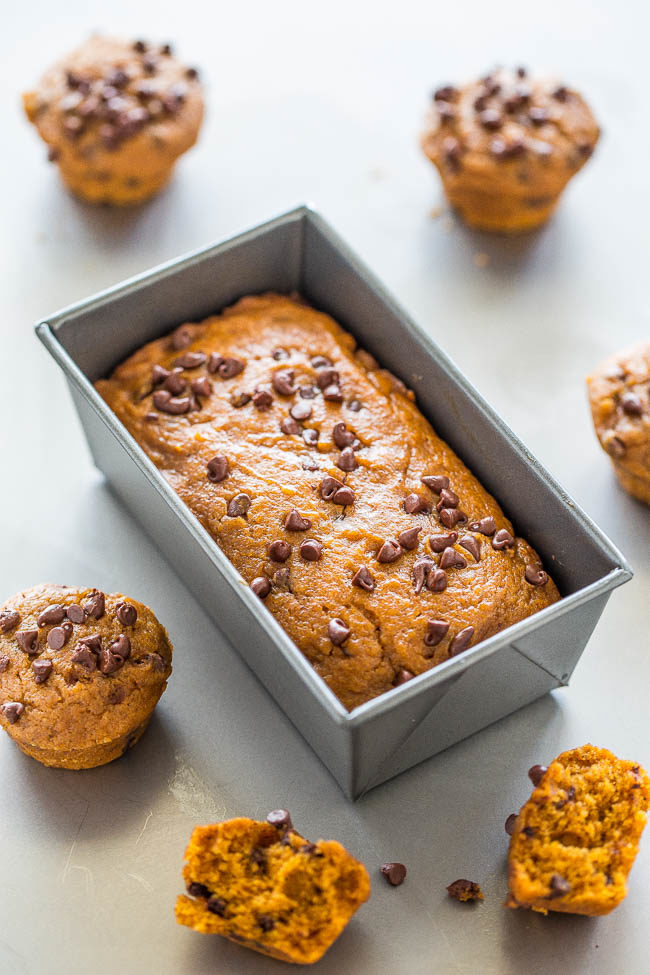 Mini Pumpkin Chocolate Chip Muffins - Easy, no mixer recipe for the SOFTEST, moistest, most ADORABLE little muffins ever!! Rich PUMPKIN flavor and CHOCOLATE in every bite!!