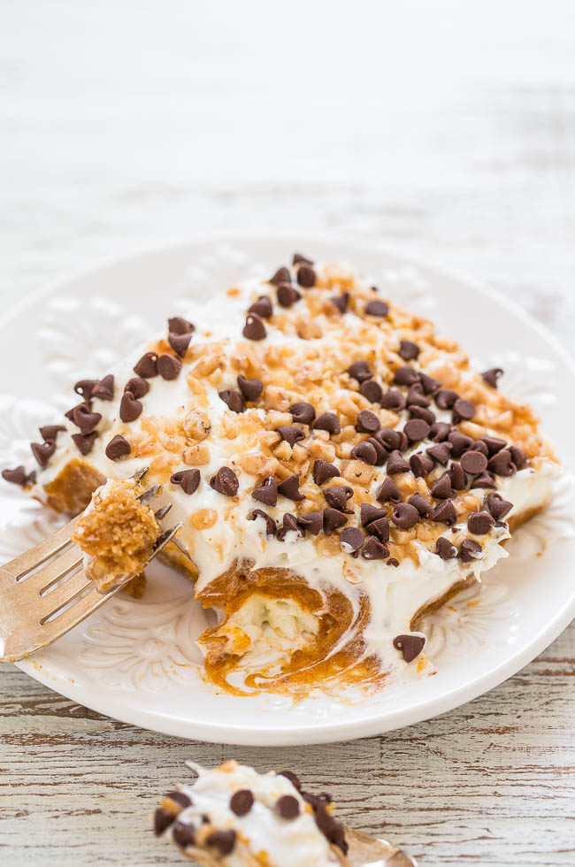 Pumpkin Lush - EASY layered dessert with a graham cracker crust, cream cheese, pudding, PUMPKIN, whipped topping, chocolate chips, and toffee bits!! A little bit of CRUNCH with lots of fluffy CREAMINESS!!