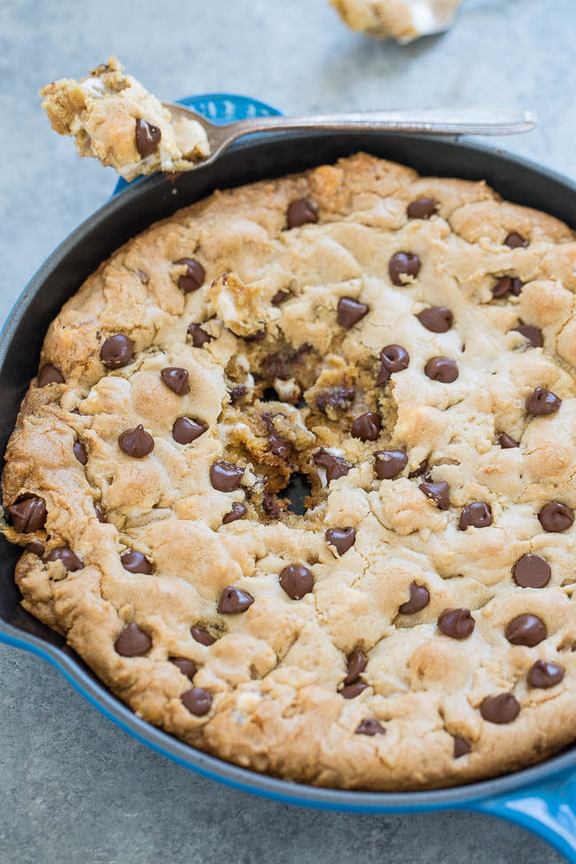 Chocolate Chip Marshmallow Skillet Cookie in skillet