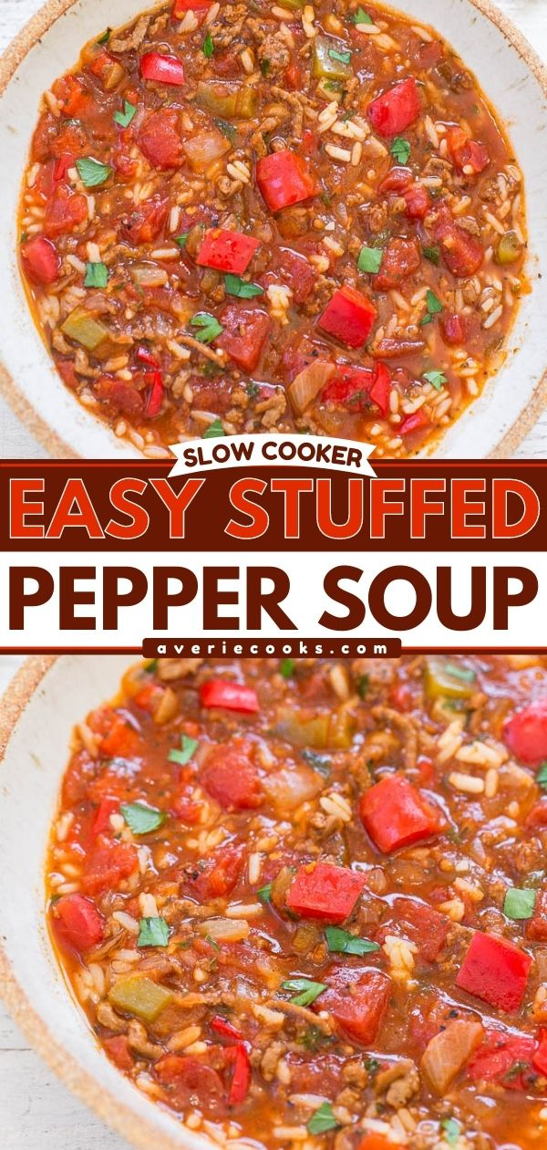 Slow Cooker Stuffed Pepper Soup— This stuffed pepper soup is packed with bell peppers, onion, and ground beef and is simmered in a tomatoey broth. Serve with rice for an easy weeknight meal!