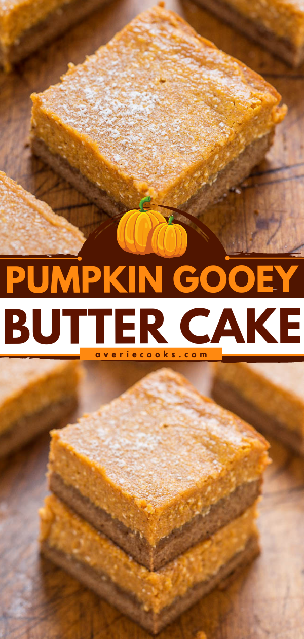 Pumpkin Gooey Butter Cake — Like a gooier, richer version of pumpkin pie with a spice cake crust!! Butter + cream cheese = lives up to its GOOEY name! Make it for Thanksgiving instead of pumpkin pie!!
