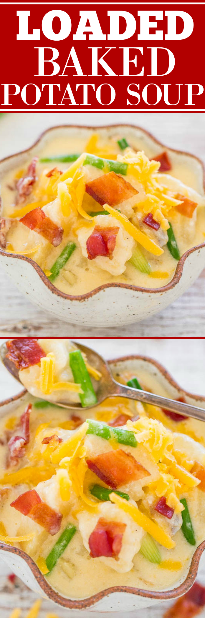 Loaded Baked Potato Soup - LOADED with your favorite baked potato toppings in a comforting bowl of soup!! Green onions, CHEESE, BACON, and more! Easy, creamy, cheesy, and hearty!!