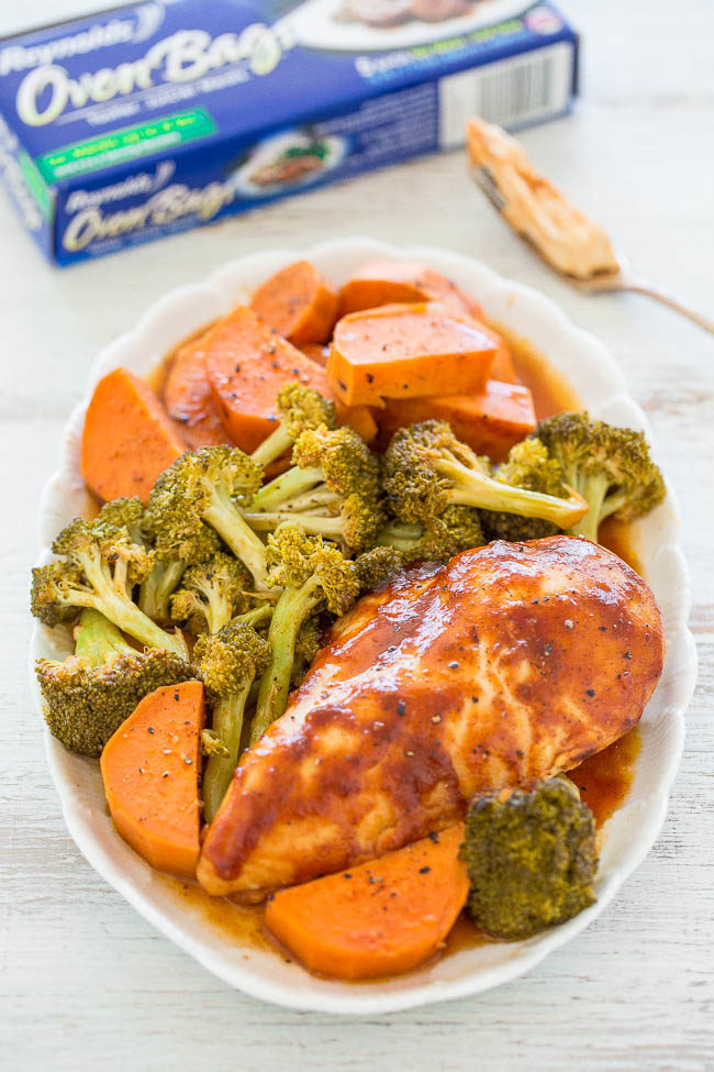 Oven-Baked Barbecue Chicken - Chicken, sweet potatoes, and broccoli all bake together for an EASY, healthy meal that's made in ONE pan in under ONE hour!! The chicken is so juicy and loaded with FLAVOR!!