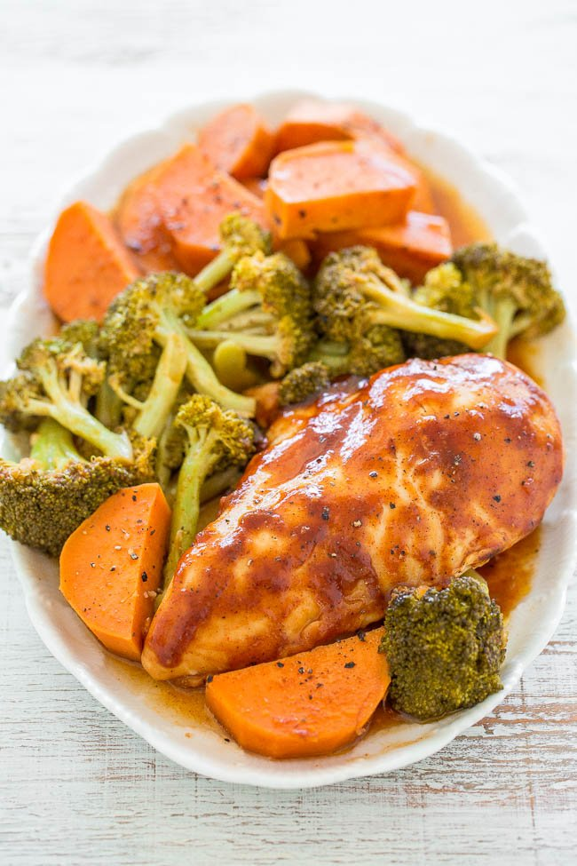 Baked BBQ Chicken with sweet potatoes and broccoli on platter