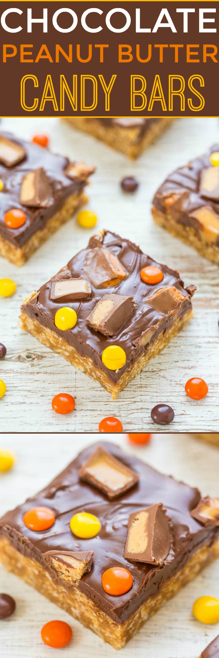 Chocolate Peanut Butter Candy Bars - Easy, no-bake, soft, chewy PEANUT BUTTER bars topped with CHOCOLATE and CANDY!! Great for using up Halloween or extra candy because you can top with any candy!!
