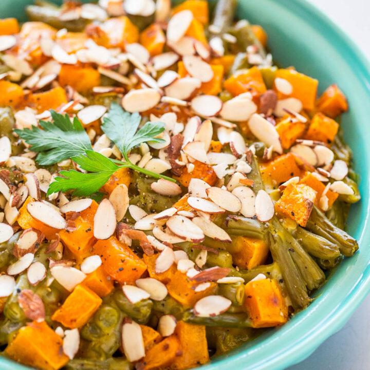 Roasted Butternut Squash Green Bean Casserole