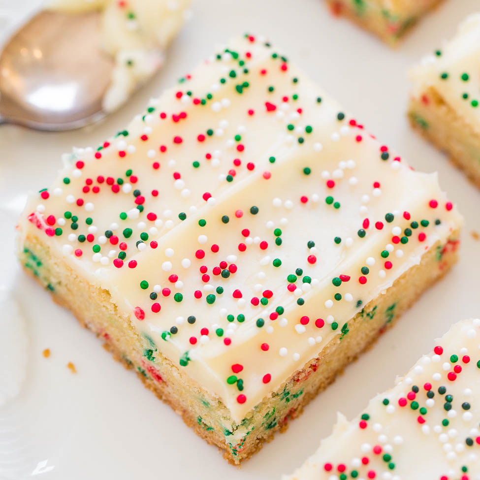 holiday sugar cookie bars with cream cheese frosting averie cooks - Christmas Bar Cookies