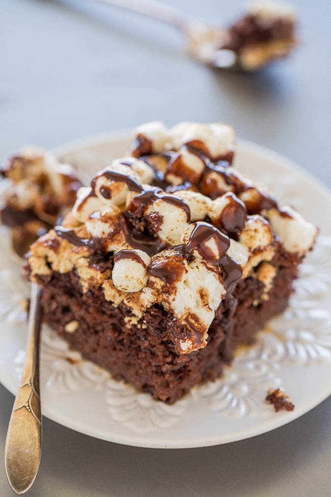 slice of S'mores Cake on plate with fork