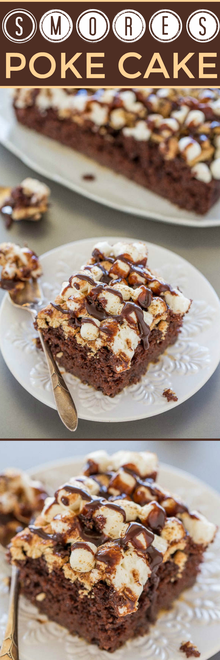 Chocolate cake gets poked all over and soaked in a marshmallow creme mixture before being topped with crushed graham crackers, toasted marshmallows, and hot fudge sauce.  #pokecake #smores #smoresrecipe #cakerecipe